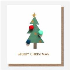kerstkaart caroline gardner mini-poms - merry christmas - kerstboom   muller wenskaarten