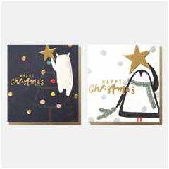 8 luxe kerstkaarten caroline gardner - 2 ontwerpen - merry christmas - beer en pinguin   muller wenskaarten