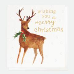 8 luxe kerstkaarten caroline gardner - wishing you a merry christmas - hert met hulst