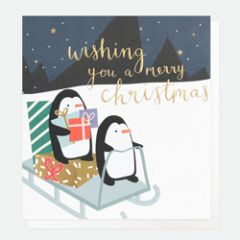 8 luxe kerstkaarten caroline gardner - wishing you a merry christmas - pinguins op slee