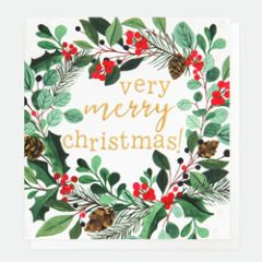 8 luxe kerstkaarten caroline gardner - merry christmas - very merry christmas! - kerstkrans