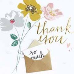grote bedankkaart caroline gardner - met extra kaartje - thank you - bloemen