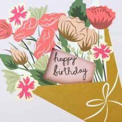 verjaardagskaart caroline gardner - happy birthday - bos bloemen