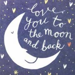wenskaart caroline gardner - love you to the moon and back