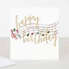 wenskaart caroline gardner - happy birthday - muzieknoten