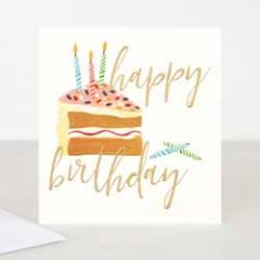 wenskaart caroline gardner - happy birthday - taart met kaarsjes
