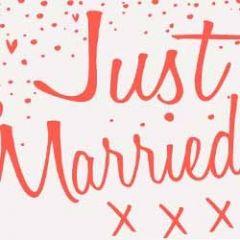 trouwkaart caroline gardner - neon - just married xxx