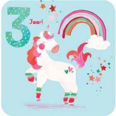 3 jaar - verjaardagskaart - eenhoorn