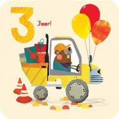 3 jaar - verjaardagskaart - bever in auto