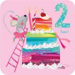 2 jaar - verjaardagskaart - muis en taart