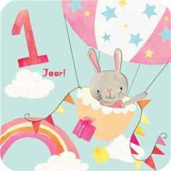 1 jaar - verjaardagskaart - konijntje in luchtballon
