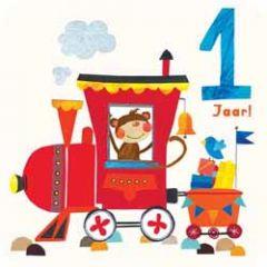 1 jaar - verjaardagskaart - aap in treintje