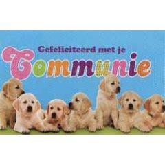 wenskaart - gefeliciteerd met je communie - hondjes