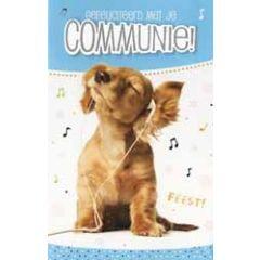 wenskaart - gefeliciteerd met je communie - hond met oortjes