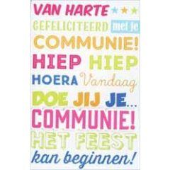 wenskaart - vandaag doe jij je communie - het feest kan beginnen