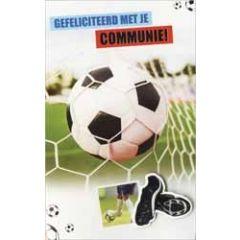 wenskaart - gefeliciteerd met je communie - voetbal