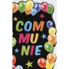 wenskaart communie - ballonnen zwart