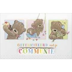 wenskaart - gefeliciteerd met je communie - beertjes met cupcake, op schommel en met bloemen