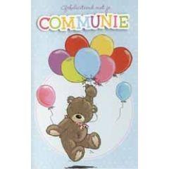 wenskaart communie - beertje met ballonnen