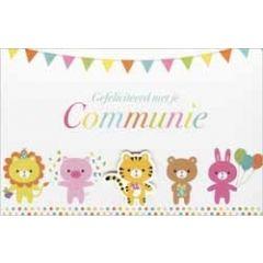 wenskaart - gefeliciteerd met je communie - dieren en vlaggetjes