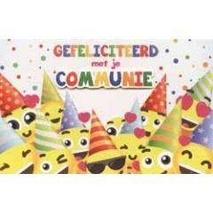 felicitatiekaart - gefeliciteerd met je communie - smileys met feesthoed