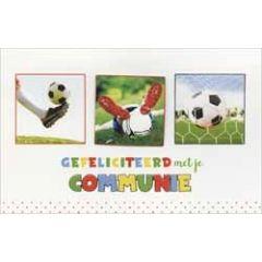 felicitatiekaart - gefeliciteerd met je communie - voetbal