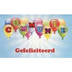 felicitatiekaart - communie gefeliciteerd - ballonnen