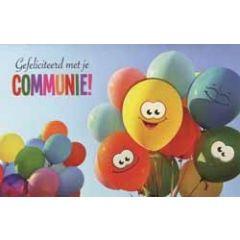 felicitatiekaart - gefeliciteerd met je communie - ballonnen
