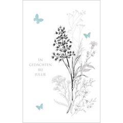 condoleancekaart - in gedachten bij jullie - bloemen en vlinders
