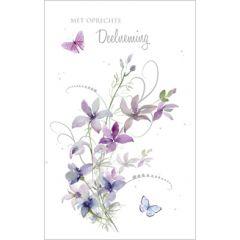 condoleancekaart - met oprechte deelneming - bloemen en vlinders