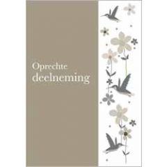condoleancekaart - oprechte deelneming - vogels en bloemen
