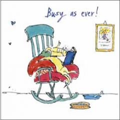 wenskaart woodmansterne corona - busy as ever! - quentin blake