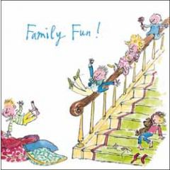 wenskaart woodmansterne corona - family fun! - quentin blake