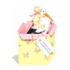3d geboortekaart courtier - ooievaar met baby - roze