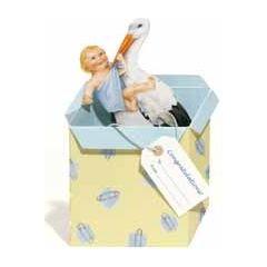 3d geboortekaart courtier - ooievaar met baby -blauw