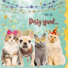 felicitatiekaart cuddles - van je party squad... - katten en hond