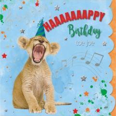verjaardagskaart cuddles - happy birthday toe joe - leeuw welpje