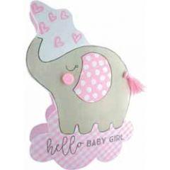 3d geboortekaartje paper dazzle - hello baby girl - olifant