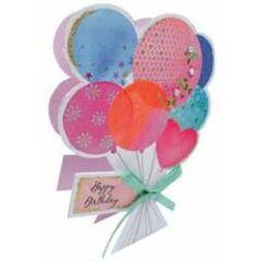 3d verjaardagskaart paper dazzle - happy birthday - ballonnen