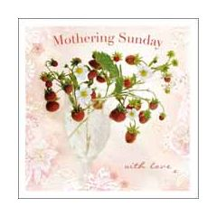 moederdagkaart woodmansterne - mothering sunday with love - aardbeien