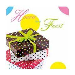 5 Uitnodigingskaarten met envelop - Hoera het is Feest - cadeautjes