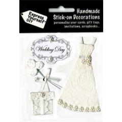 4 plak decoraties - huwelijk - trouwjurk
