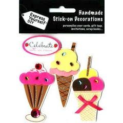 4 plak decoraties - ijsjes