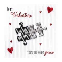 luxe valentijnskaart - to my valentine you are my missing piece - puzzelstukjes