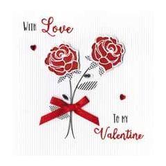 luxe valentijnskaart - with love to my valentine - rode rozen
