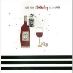 wenskaart second nature - hope your birthday is a corker - wijn