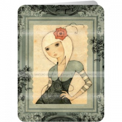 santoro eclectic cards - mirabelle: girl with a red flower