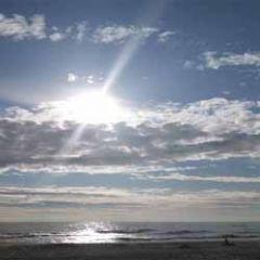 wenskaart - zee en wolkenlucht