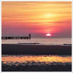 wenskaart - zonsondergang aan zee