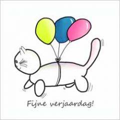 wenskaart claudia muller - fijne verjaardag! - kat aan ballonnen